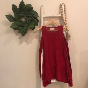 [Knox Rose] Red Cold Shoulder Tunic
